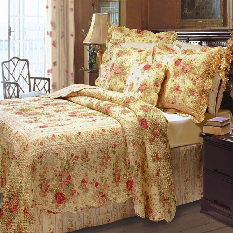 Quilt Sets Antique Rose Quilt Set Red Gold 100% Cotton Latest Bedding