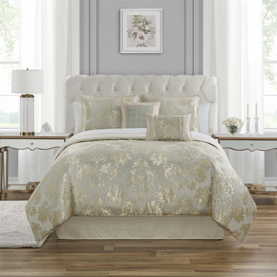 Gael Platinum/Gold 4-Piece Reversible Comforter Set [Luxury comforter Sets] [by Latest Bedding]