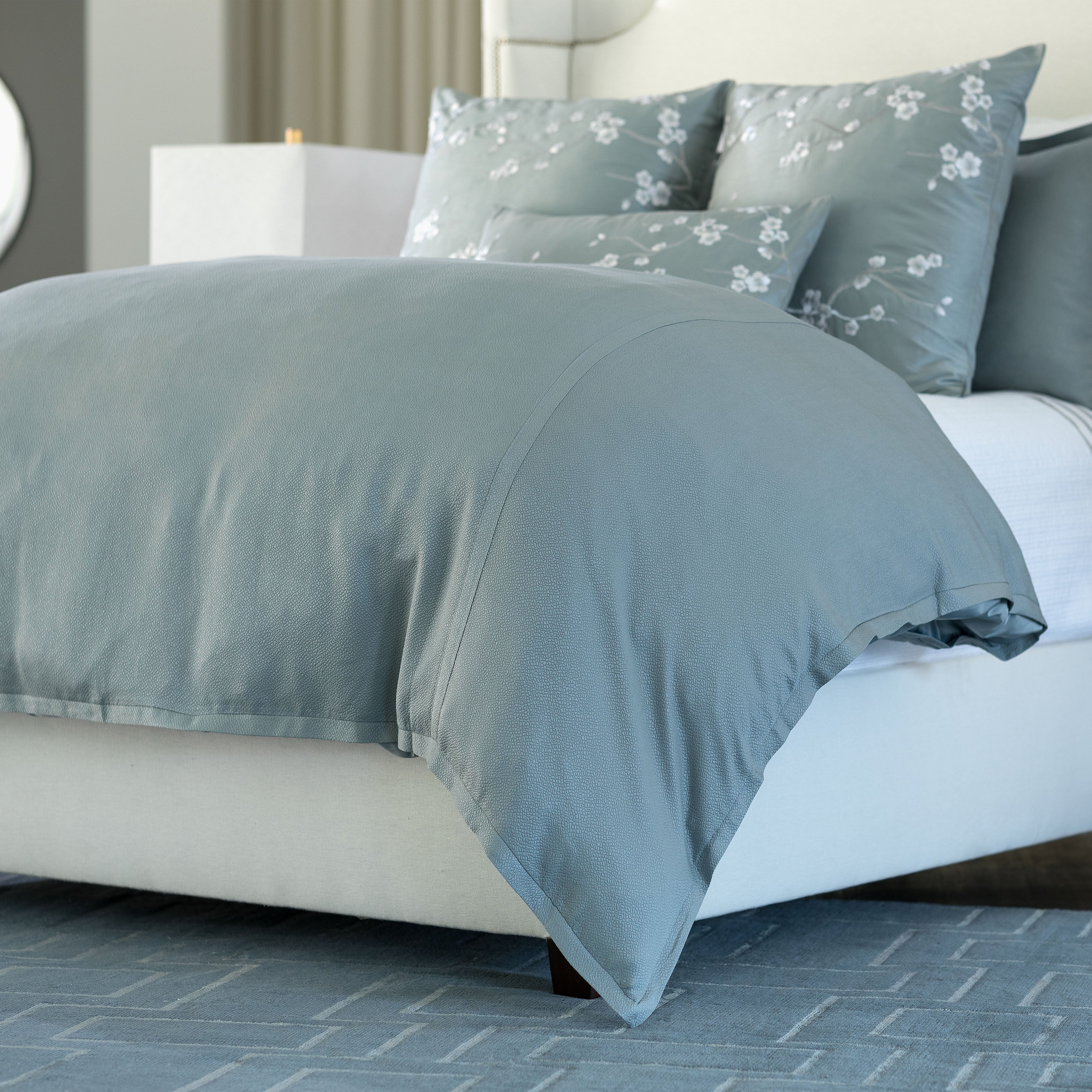 Gia Blue Cotton/Silk Duvet Cover [Luxury comforter Sets] [by Latest Bedding]