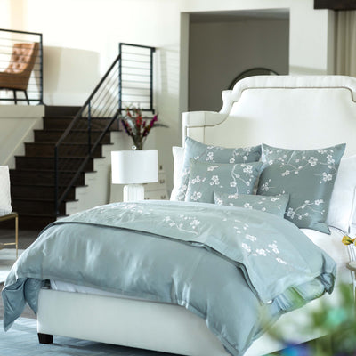 Gia Blue Cotton/Silk Duvet Cover Duvet By Lili Alessandra