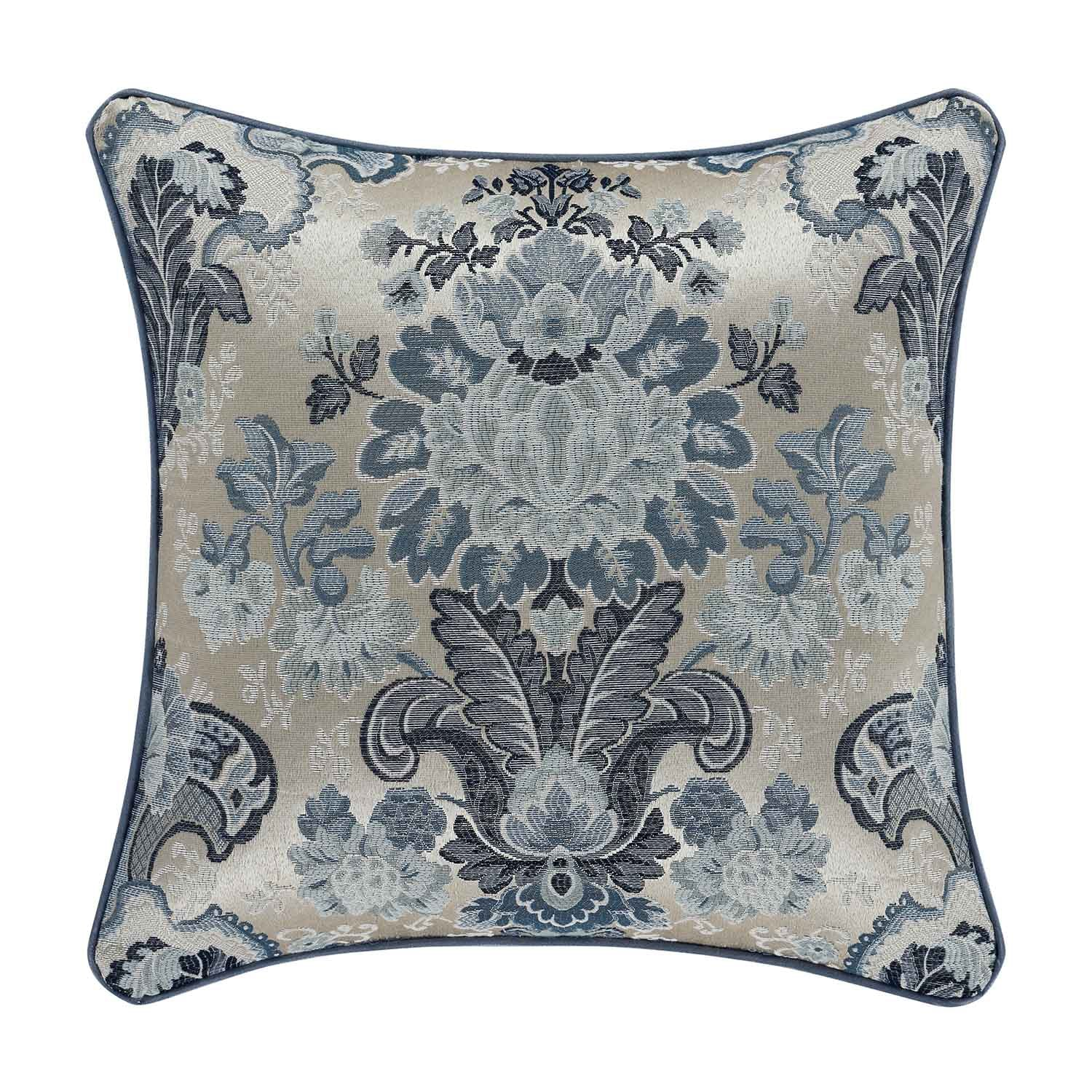 "Glendale Blue Square Decorative Throw Pillow 18""W x 18""L"" [Luxury comforter Sets] [by Latest Bedding]"