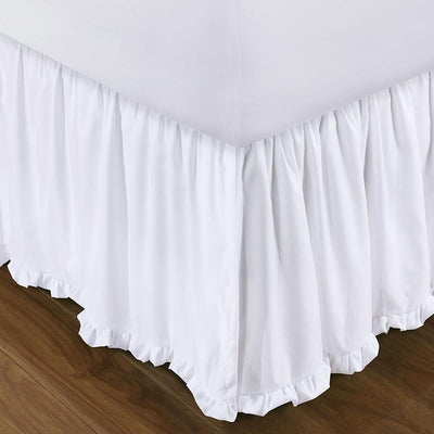 "Sasha White Bed Skirt 15"" [Luxury comforter Sets] [by Latest Bedding]"