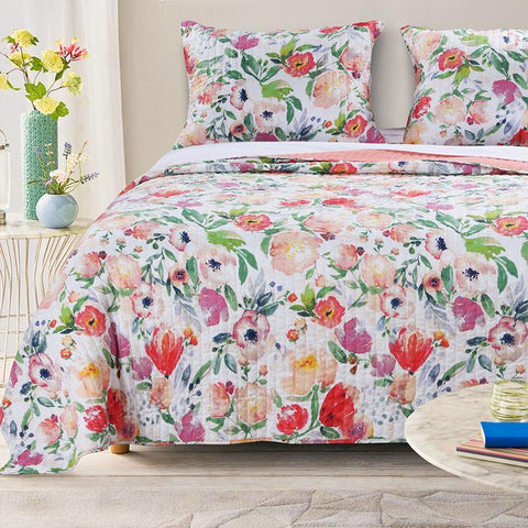 Quilt Sets Blossom 3 Piece Quilt Set by Greenland Home Fashions Poly Cotton Multicolor Latest Bedding