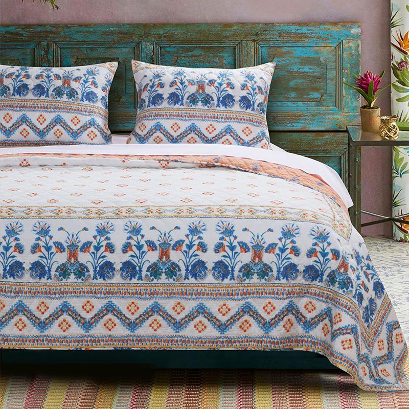 Quilt Sets Aleena Quilt Set by Barefoot Bungalow Blue White Pink Latest Bedding