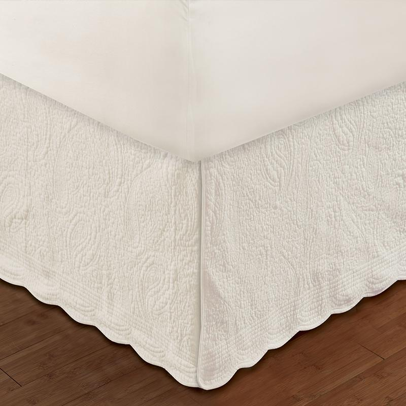 "Paisley Quilted Ivory Bed Skirt 18"" Bed Skirt By Greenland Home Fashions"
