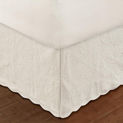 "Paisley Quilted Ivory Bed Skirt 18"" [Luxury comforter Sets] [by Latest Bedding]"