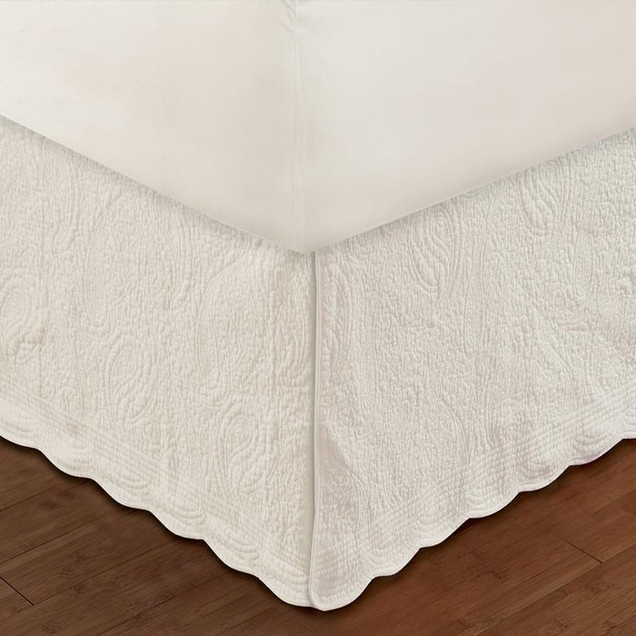 Paisley Quilted Ivory Bed Skirt 18""