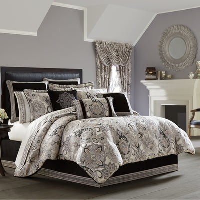 Guiliana Silver/Black 4-Piece Comforter Set [Luxury comforter Sets] [by Latest Bedding]