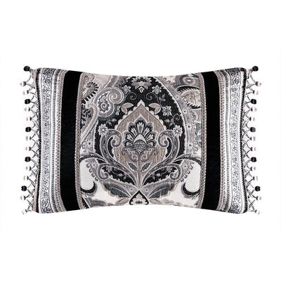 Guiliana Silver/Black Boudoir Decorative Throw Pillow [Luxury comforter Sets] [by Latest Bedding]