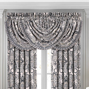 Guiliana Silver/Black Waterfall Window Valance [Luxury comforter Sets] [by Latest Bedding]