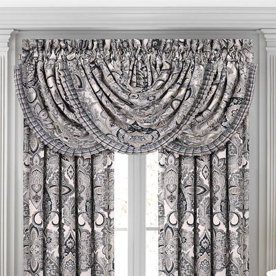 Guiliana Silver/Black Waterfall Window Valance Window Valance By J. Queen New York