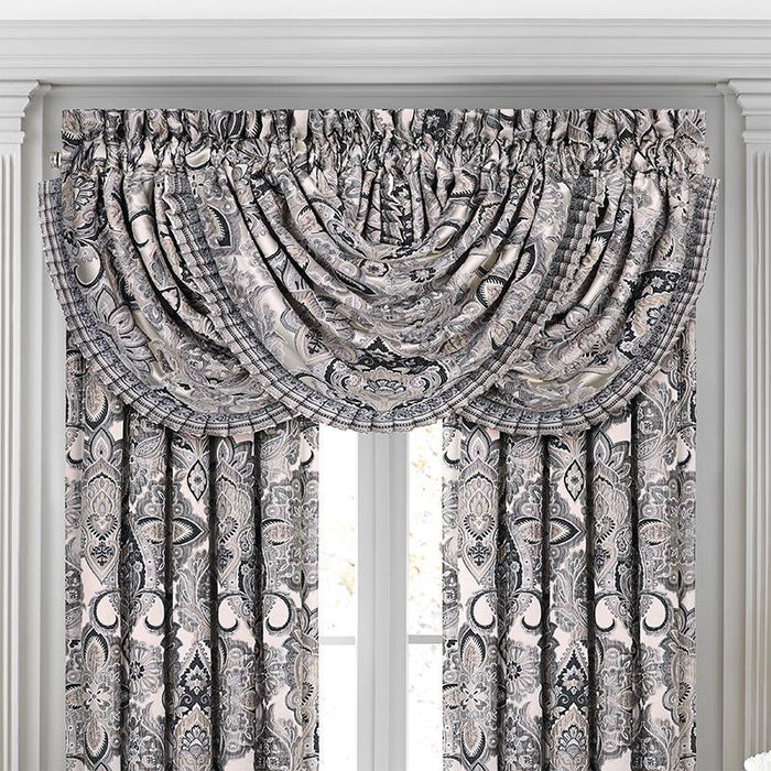 Guiliana Silver/Black Waterfall Window Valance