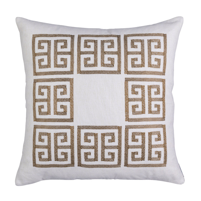 Guy Ivory Basketweave Antique Gold Embroidery Square Pillow