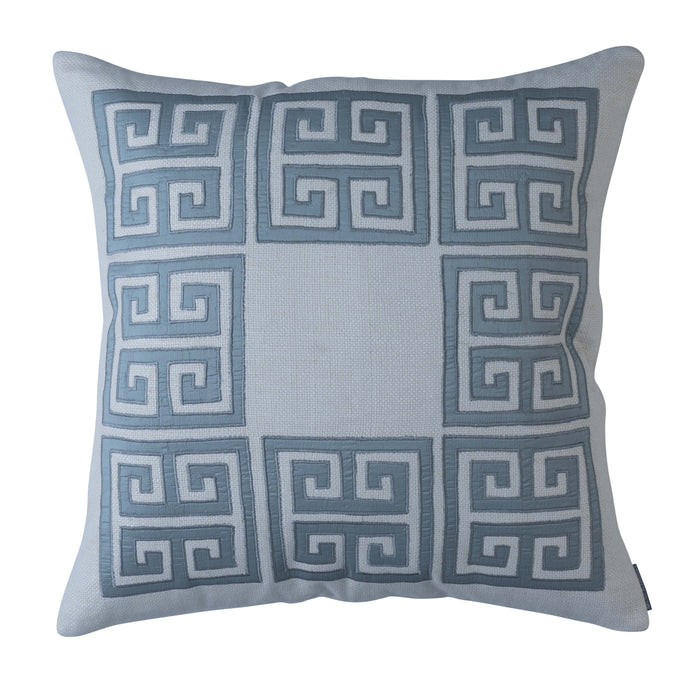 Guy Ivory Basketweave Blue Silk Square Throw Pillow