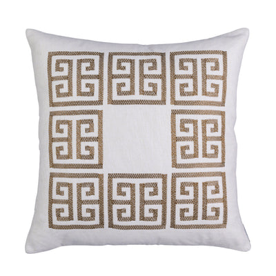 Guy Ivory Basketweave Gold Embroidery Euro Pillow [Luxury comforter Sets] [by Latest Bedding]