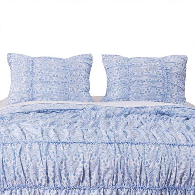 Helena Ruffle Blue Sham [Luxury comforter Sets] [by Latest Bedding]