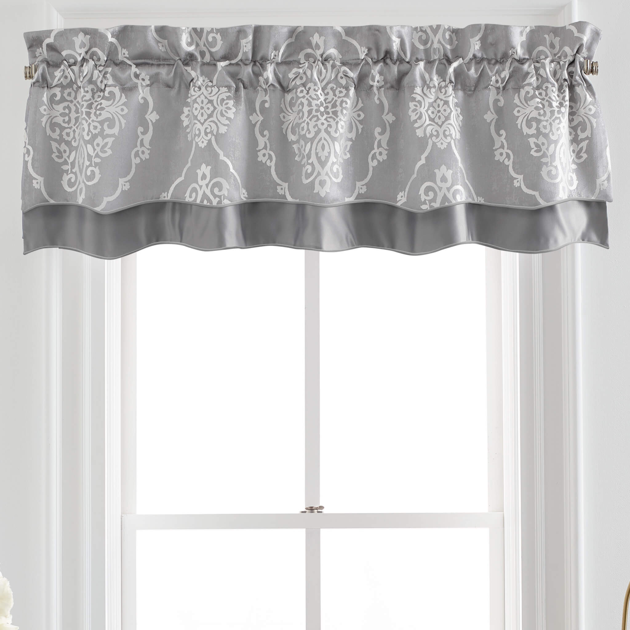 Isla Grey Scallpped Window Valance By Croscill [Luxury comforter Sets] [by Latest Bedding]