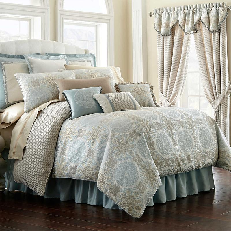 Comforter Sets Jonet Cream/Aqua 4-Piece Reversible Comforter Set by Waterford Latest Bedding