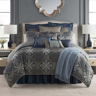 Jonet Indigo 4-Piece Reversible Comforter Set by Waterford [Luxury comforter Sets] [by Latest Bedding]