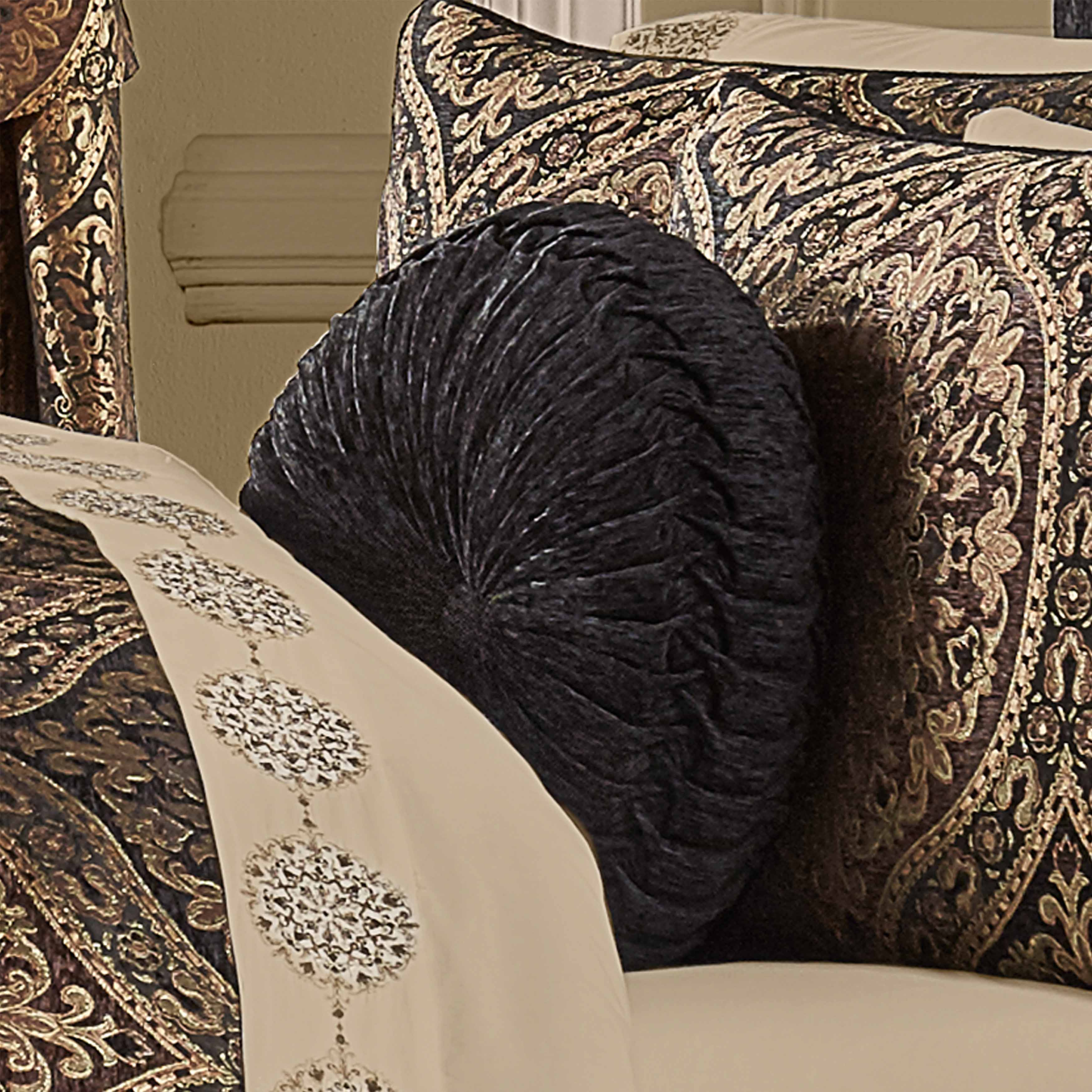 Jordan Chocolate Tufted Round Decorative Throw Pillow [Luxury comforter Sets] [by Latest Bedding]