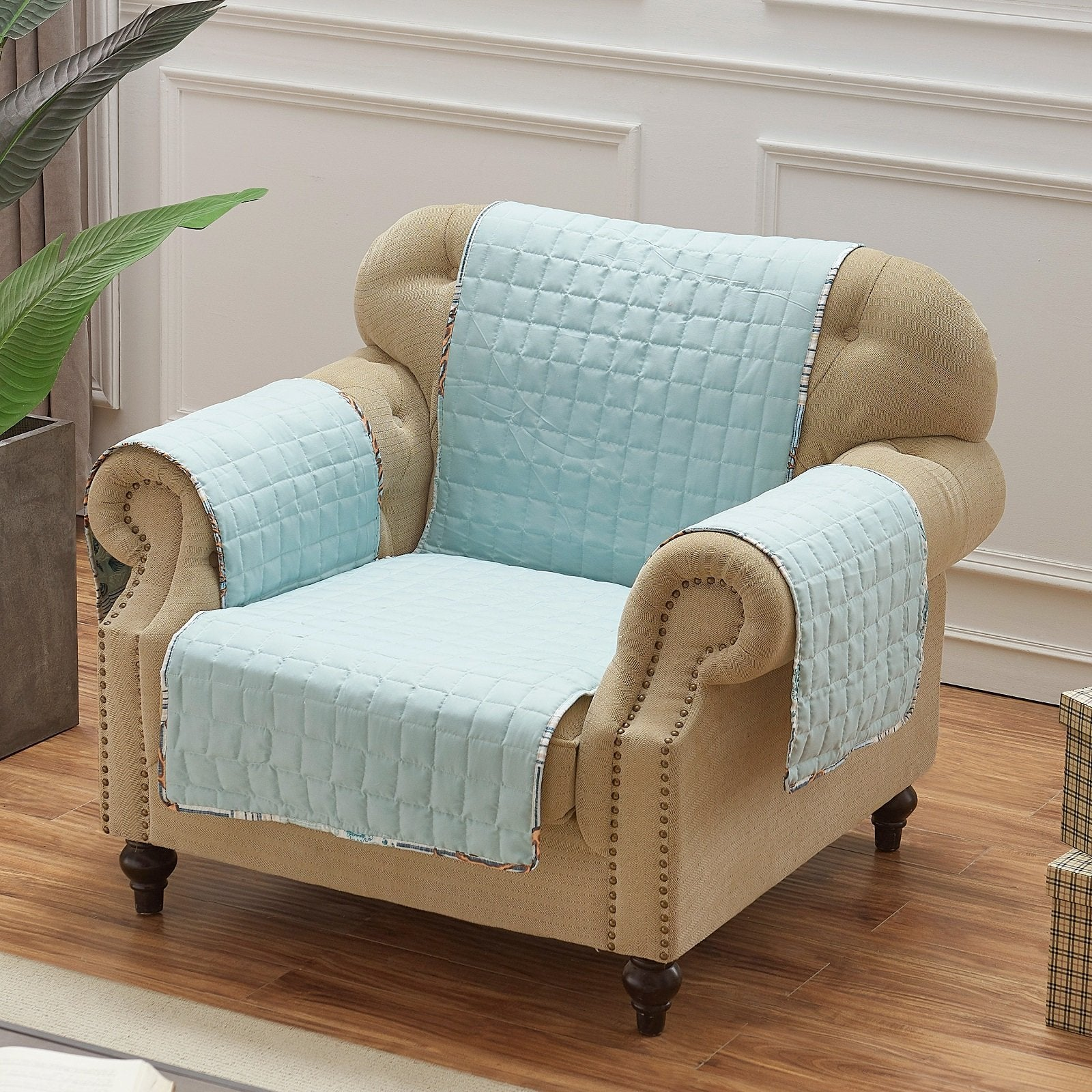 Key West Seafoam Arm Chair Protector [Luxury comforter Sets] [by Latest Bedding]