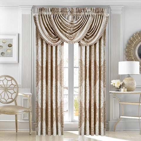 Window Panels La Scala Gold Window Panel Pair [Luxury comforter Sets) ( by Latest Bedding)]