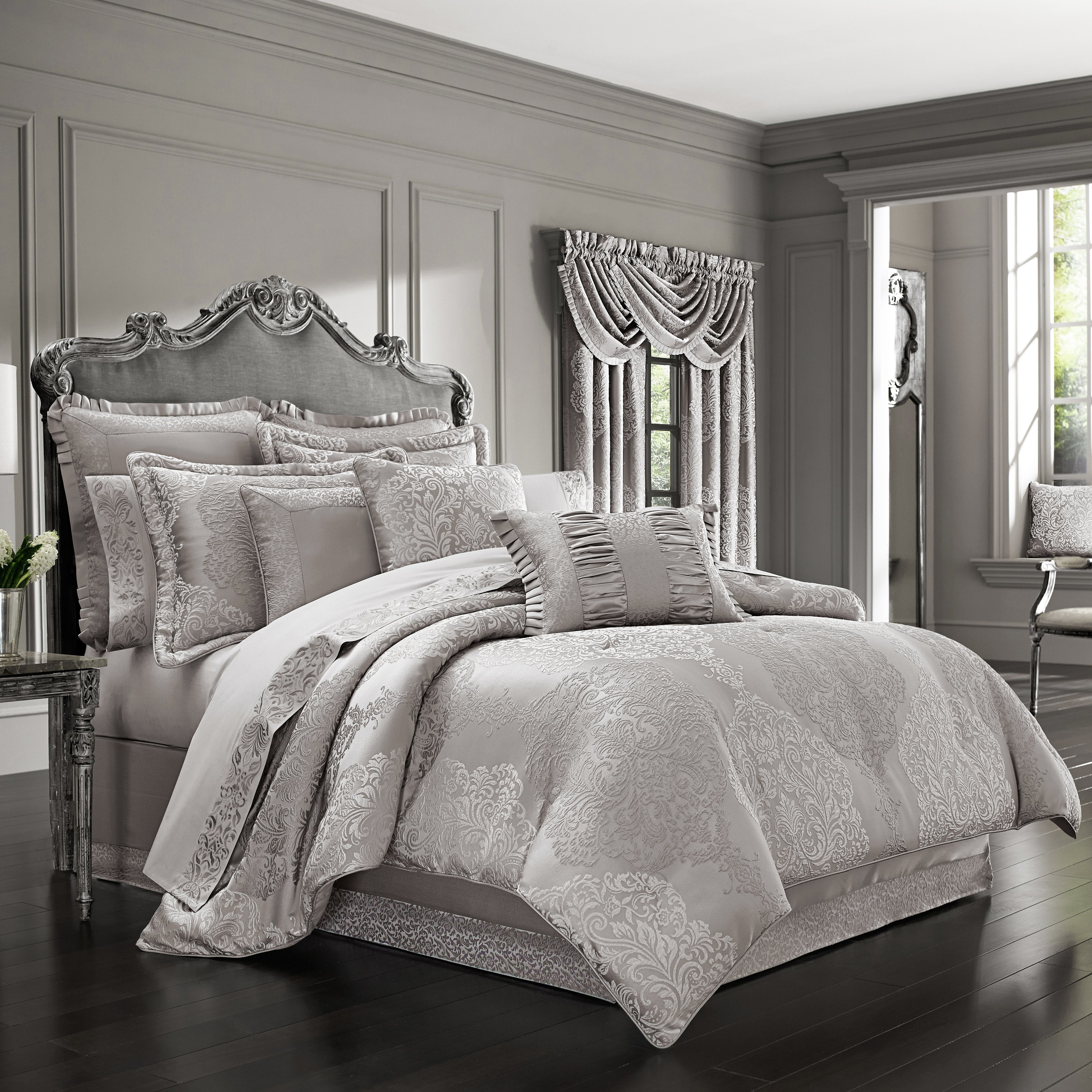 LaScala Silver 4-Piece Comforter Set Comforter Sets By J. Queen New York