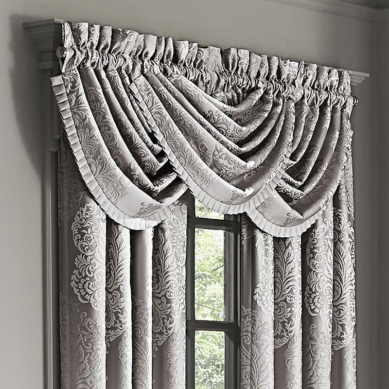 Valance La Scala Silver Waterfall Window Valance [Luxury comforter Sets) ( by Latest Bedding)]