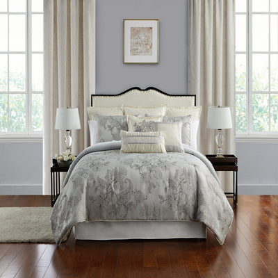 Lacy Silver 4-Piece Comforter Set Comforter Sets By Waterford