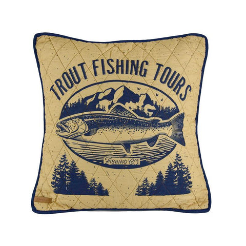 Lake House Trout Decorative Pillow [Luxury comforter Sets] [by Latest Bedding]