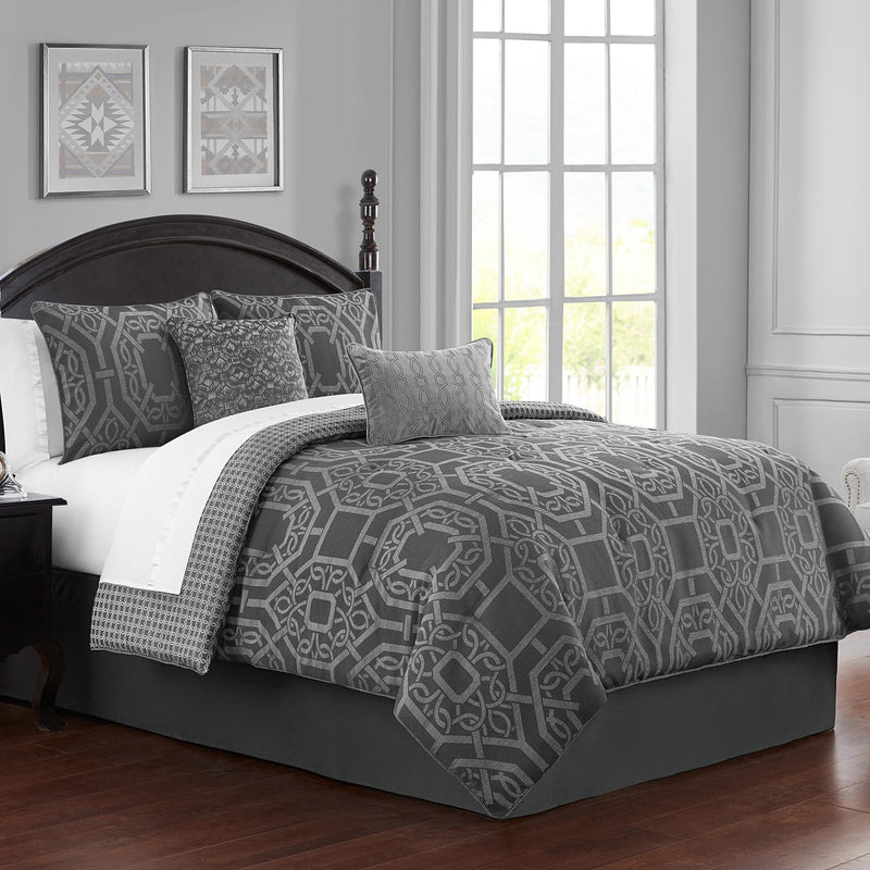 Liam Charcoal 4-Piece Reversible Comforter Set [Luxury comforter Sets] [by Latest Bedding]