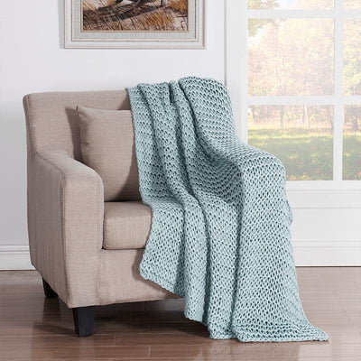 Luca Aqua Chunky Knit Throw [Luxury comforter Sets] [by Latest Bedding]