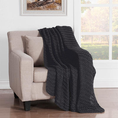 Luca Black Chunky Knit Throw [Luxury comforter Sets] [by Latest Bedding]