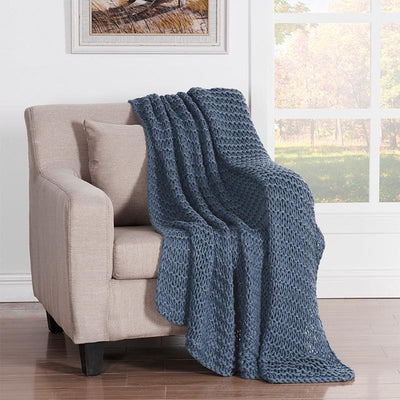 Luca Blue Chunky Knit Throw [Luxury comforter Sets] [by Latest Bedding]