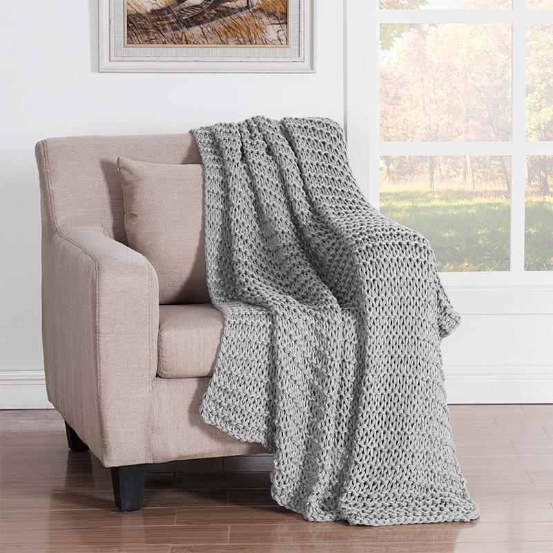 Luca Grey Chunky Knit Throw Throws By J. Queen New York