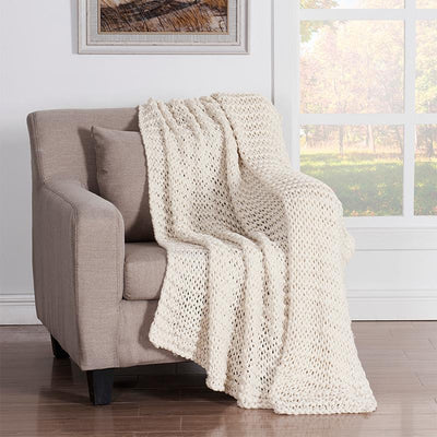 Luca Ivory Chunky Knit Throw [Luxury comforter Sets] [by Latest Bedding]