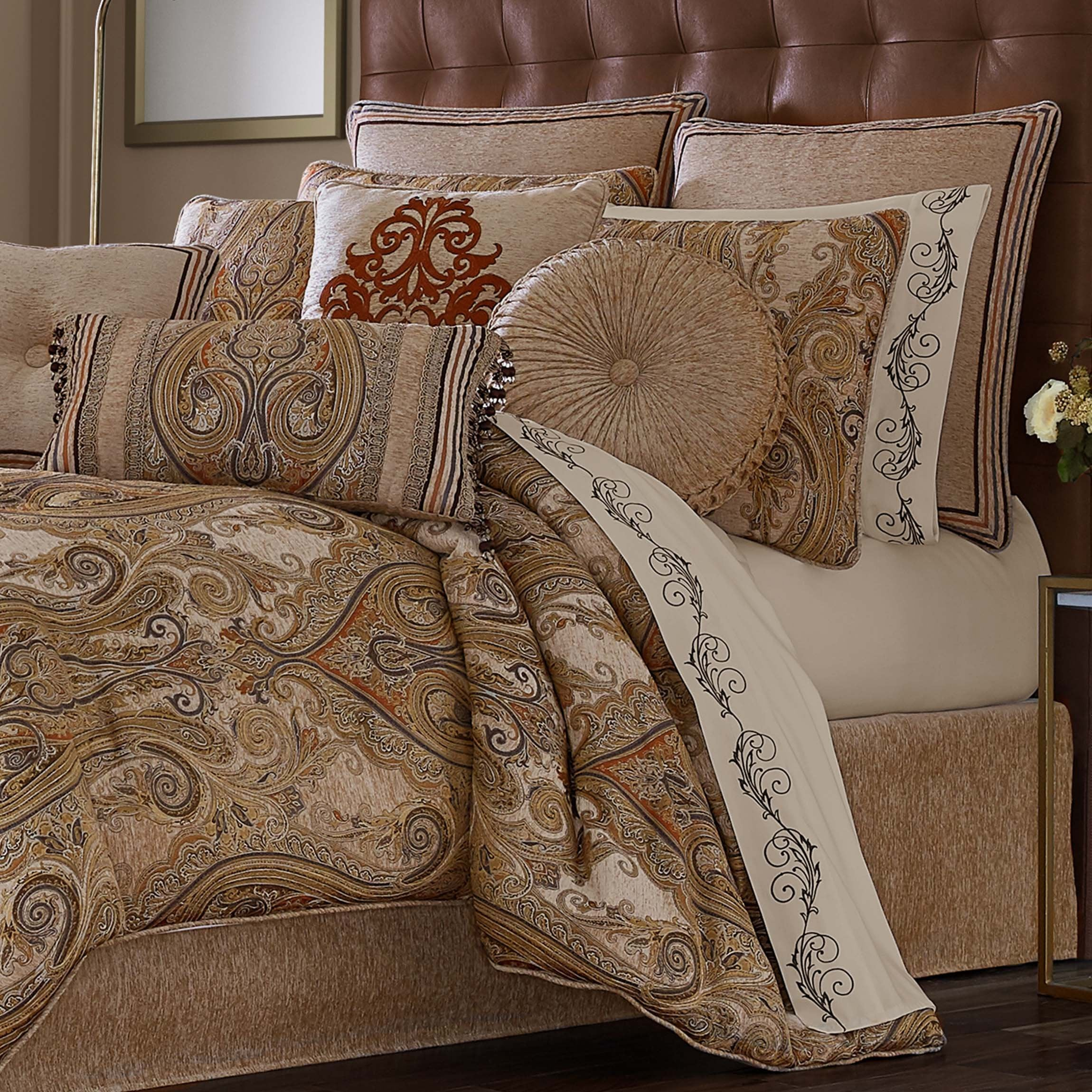 Luciana Beige 4-Piece Comforter Set Comforter Sets By J. Queen New York