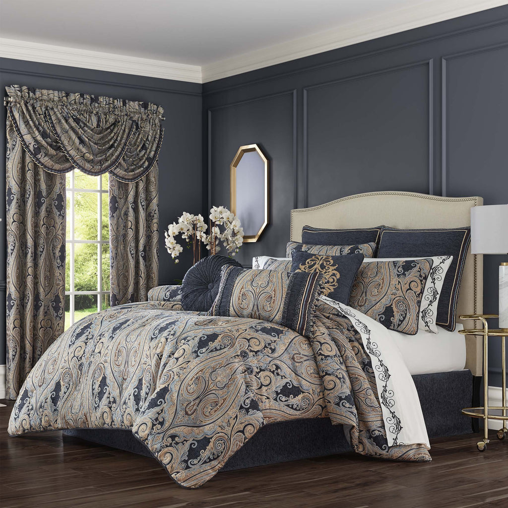 Luciana Indigo 4-Piece Comforter Set [Luxury comforter Sets] [by Latest Bedding]