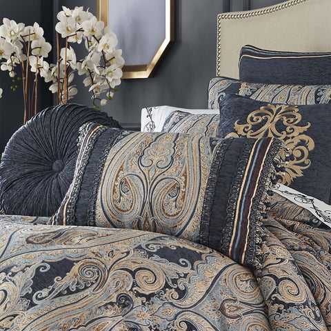 "Luciana Indigo Boudoir Throw Pillow 15"" X 23"" [Luxury comforter Sets] [by Latest Bedding]"