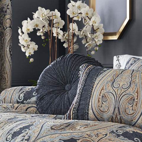 "Luciana Indigo Round Throw Pillow 15"" X 15"" [Luxury comforter Sets] [by Latest Bedding]"