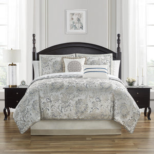Lynne Blue/Ivory 4-Piece Comforter Set [Luxury comforter Sets] [by Latest Bedding]