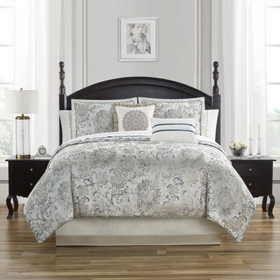 Lynne Blue/Ivory 4-Piece Comforter Set Comforter Sets By Waterford