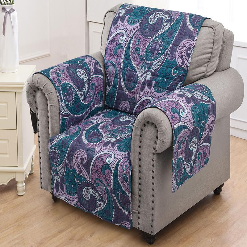 Slipcovers Madison Paisley Purple Furniture Protector Arm Chair Latest Bedding