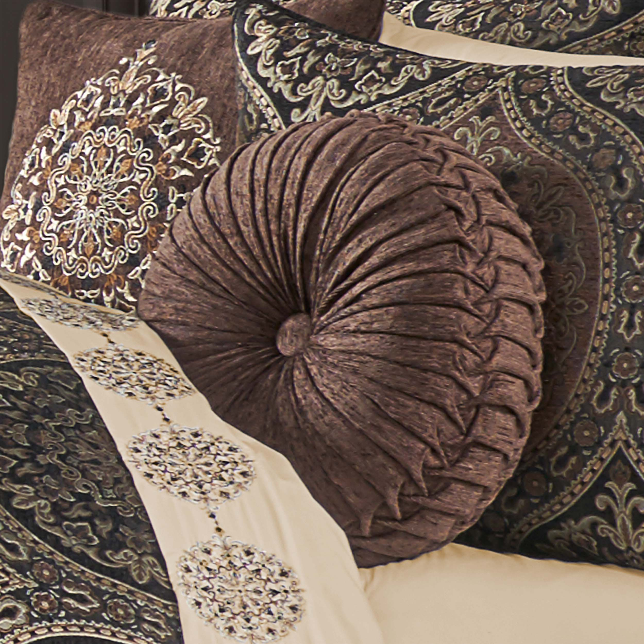 Mahogany Chocolate Tufted Round Decorative Throw Pillow Throw Pillows By J. Queen New York
