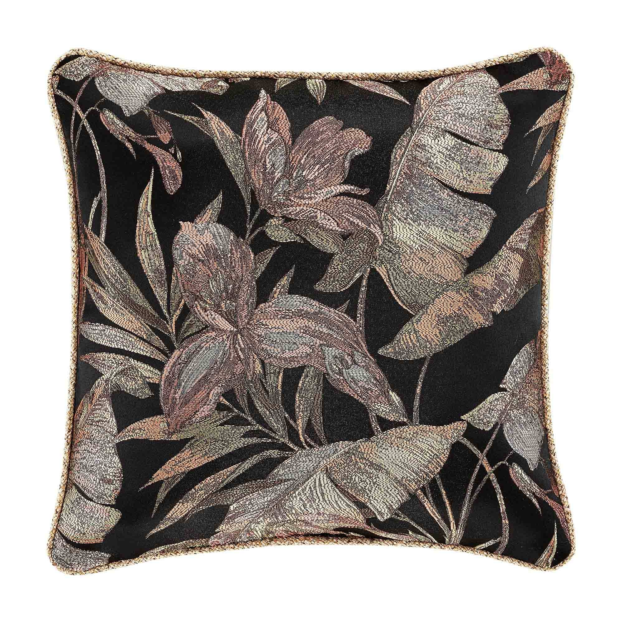 "Martinique Black Square Decorative Throw Pillow 20"" x 20"" Throw Pillows By J. Queen New York"