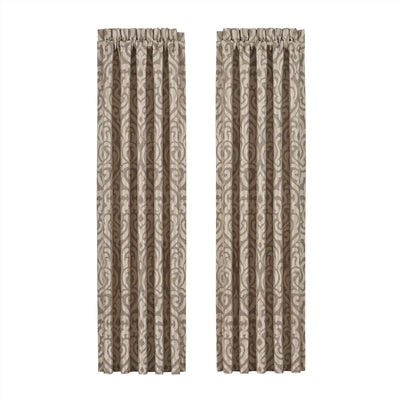 Milan Oatmeal Window Panel Pair [Luxury comforter Sets] [by Latest Bedding]