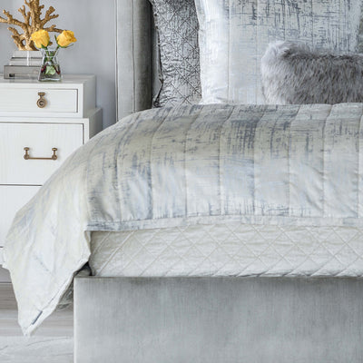 Moderne Ivory Velvet Silver Print Coverlet [Luxury comforter Sets] [by Latest Bedding]