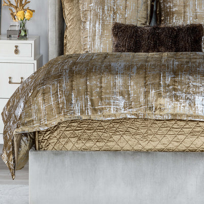 Moderne Straw Velvet Silver Print Coverlet [Luxury comforter Sets] [by Latest Bedding]