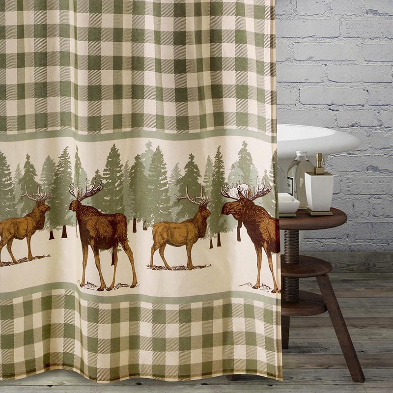 Moose Creek Multi Bath Shower Curtain [Luxury comforter Sets] [by Latest Bedding]