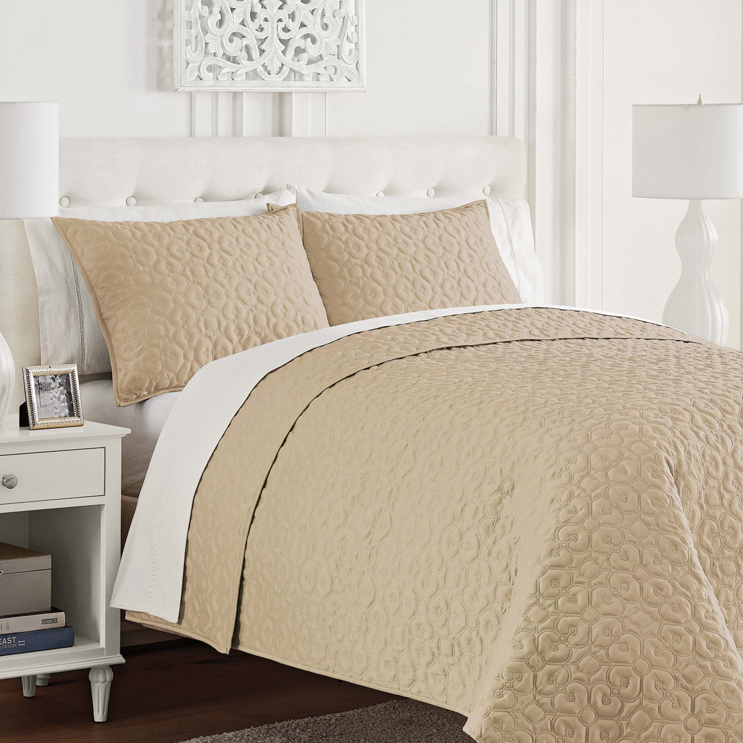 Mosaic Gold 3-Piece Coverlet Set [Luxury comforter Sets] [by Latest Bedding]